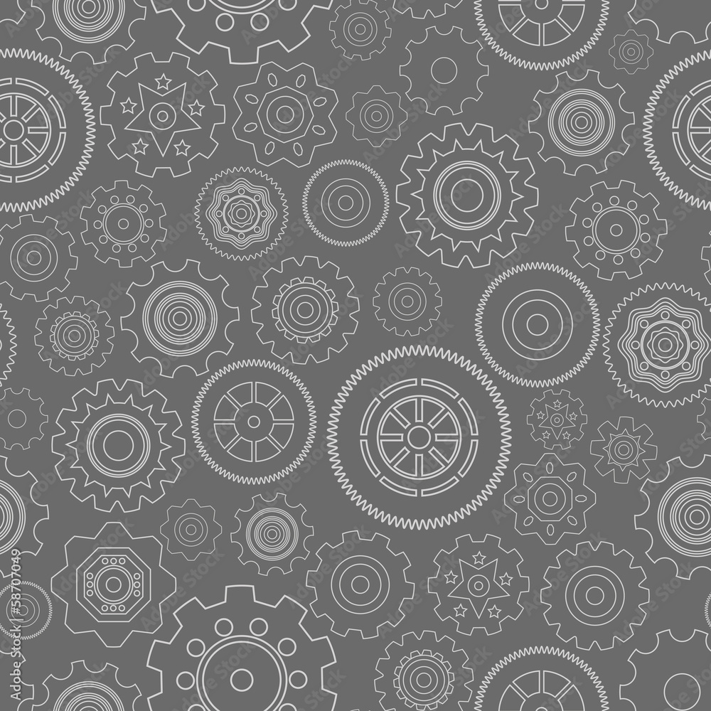 Dark seamless gear wheels pattern