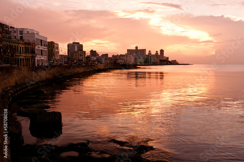 Photo  Malecon at Sunset. Havana (Cuba)