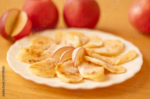 Fototapeta placek jabłko zmażony racuchy obraz