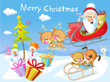 Merry Christmas design with Santa Claus Sleigh, Christmas Tree