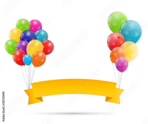 Color glossy balloons background vector illustration Wallpaper Mural