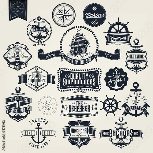 Stampa su Tela Set Of Vintage Retro Nautical Badger And Labels