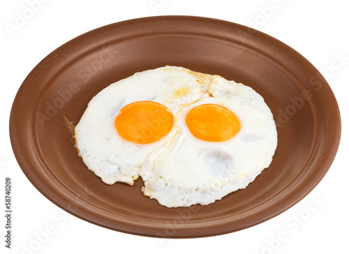 Foto op Plexiglas Gebakken Eieren fried eggs on ceramic brown plate