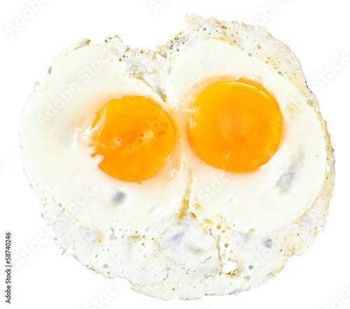 Deurstickers Gebakken Eieren top view of two fry eggs on white
