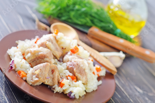 Photo  rice with meat