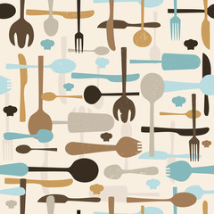 Fototapeta Do restauracji Cutlery seamless pattern background