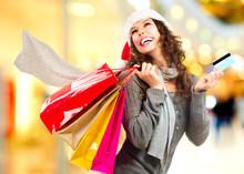 Christmas Shopping. Girl With ...