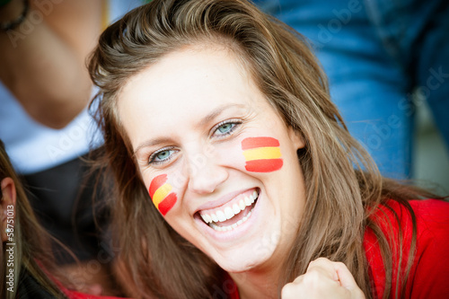 Fotografie, Obraz  Spanish young supporter at the stadium
