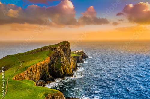 Garden Poster Northern Europe Colorful ocean coast sunset at Neist point lighthouse, Scotland
