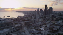 Aerial Sunset View Downtown Seattle CenturyLink Field Stadium, USA