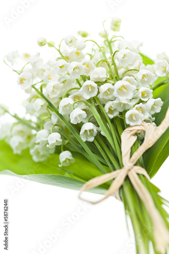 Poster Muguet de mai Lily-of-the-valley flowers on white