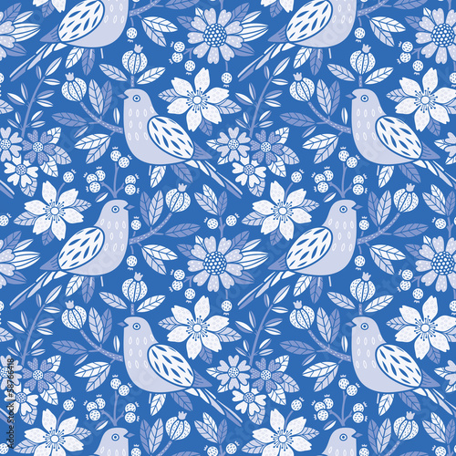 Aufkleber - Seamless floral pattern