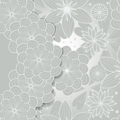 silver greeting card with flower pattern