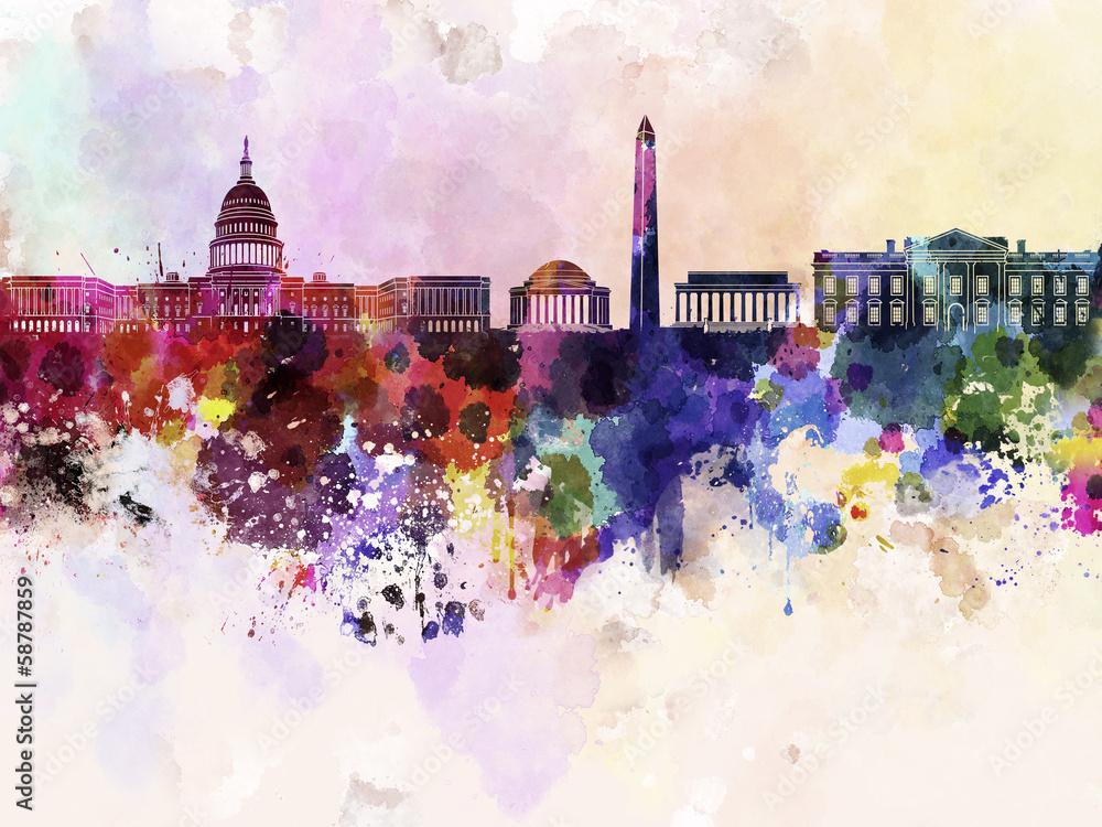 Fototapety, obrazy: Washington DC skyline in watercolor background