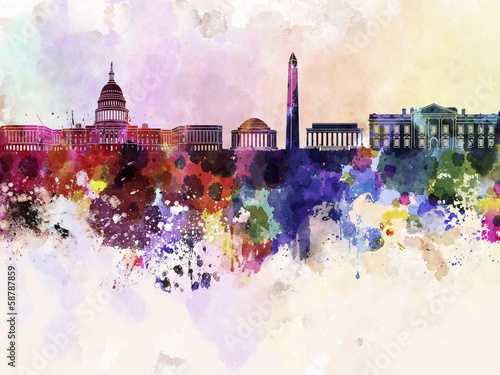 Photo  Washington DC skyline in watercolor background