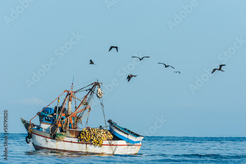 flock of birds and fishing boat in the peruvian coast at Piura P
