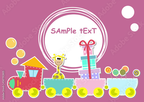 children train illustration with giraffe and gift Poster