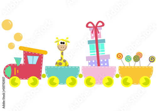 children train illustration isolated on white background