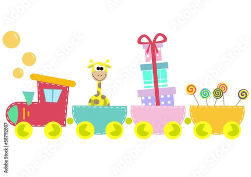 children train illustration isolated on white background