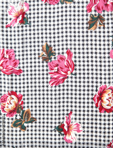 Photo  houndstooth floral fabric from 70s