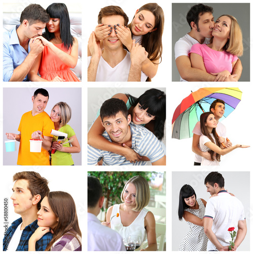 Collage of happy couples