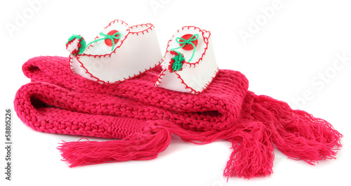 Foto auf AluDibond Spa Decorative Christmas shoes on scarf isolated on white