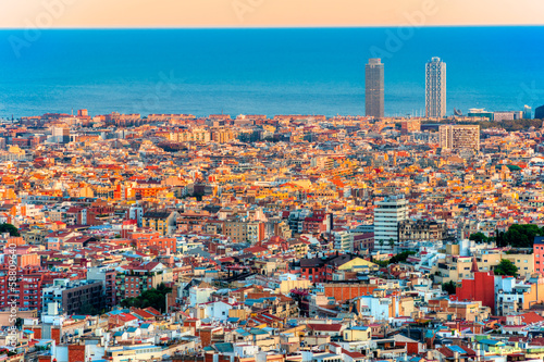 Barcelona, panoramic view. Wallpaper Mural