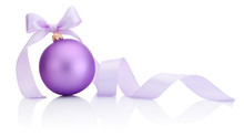 Purple Christmas Bauble With Ribbon Bow Isolated On White Backgr