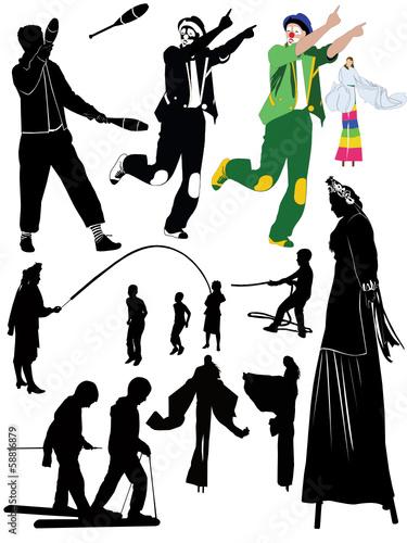 Fotografia, Obraz  juggler clown people on stilts childrens games