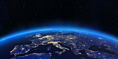 Fototapeta Europa rozświetlona z kosmosu