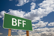 BFF Green Road Sign Over Sky