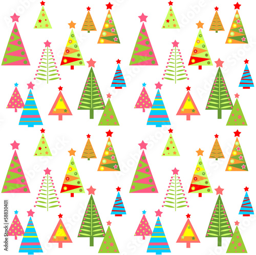 New Year wallpaper with colorful firs - Buy this stock