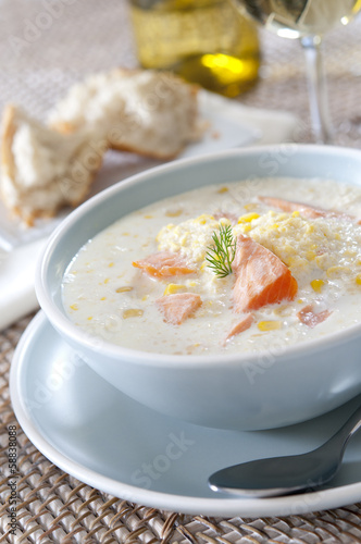Fotografie, Obraz  Closeup of a bowl of fresh salmon and corn chowder.