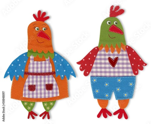 Fotografie, Obraz  rooster and hen cut out of felt and wool