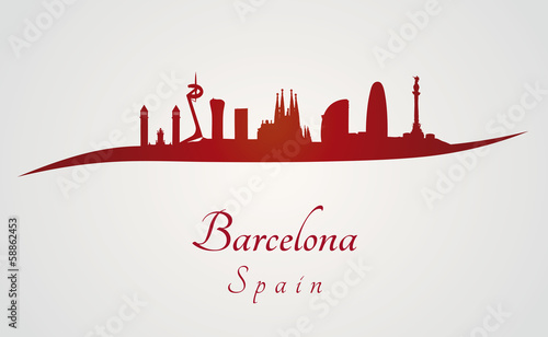 Photo Barcelona skyline in red