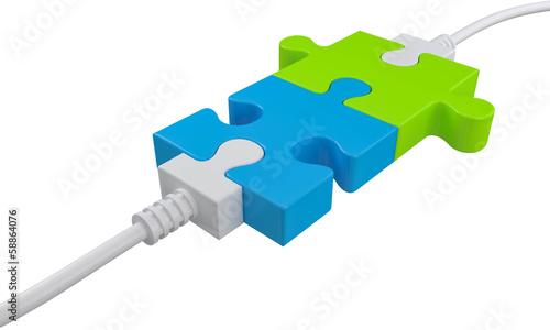 Photo Puzzleteile Verbindung farbig