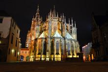 Night View On St. Vitus Cathedral, Prague