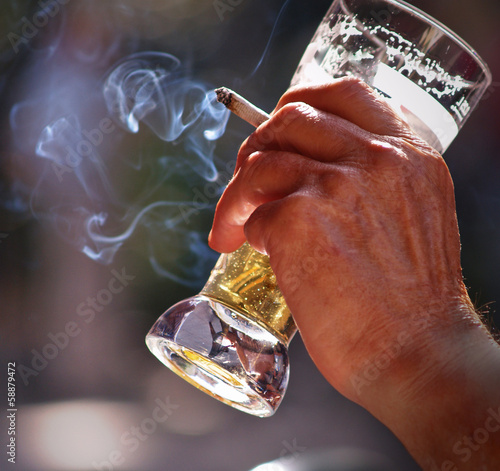 Fotografie, Obraz  Drinking beer and smoking cigarettes