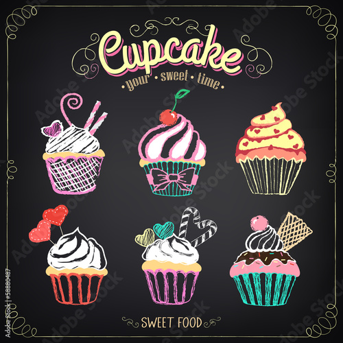 фотография  Cupcake collection. Chalking, freehand drawing