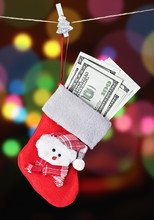 Christmas Stocking Stuffed With Money
