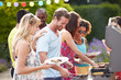 canvas print picture - Group Of Friends Having Outdoor Barbeque At Home
