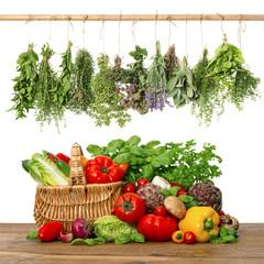 Panel Szklany Warzywa fresh vegetables and herbs.shopping basket. kitchen interior