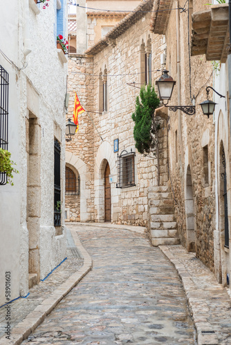 Fototapeta Medieval street in Sitges old town, Spain obraz