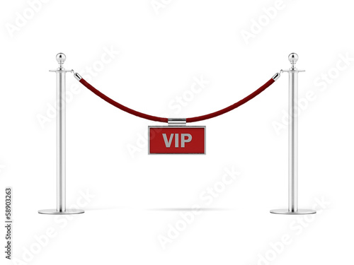 Fotografía  rope barrier with a vip sign