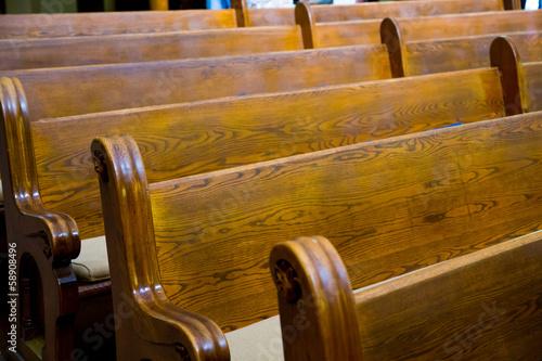 Historic Church Wood Pews Fototapet
