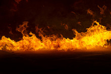 Blazing Flames On Black Backgr...