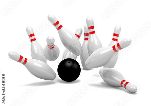 Cuadros en Lienzo Bowling Strike of Skittles