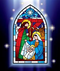 Naklejka Christmas stained glass window