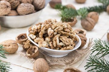 Fototapeta Fresh portion of Walnuts