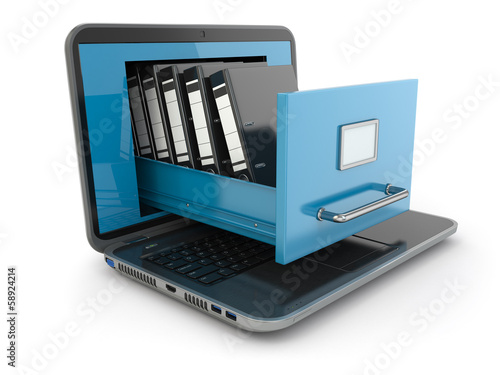 Fotografía  Data storage. Laptop and file cabinet with ring binders.